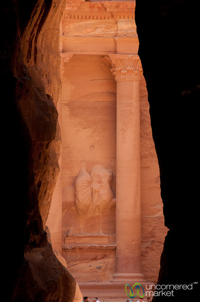 First View of the Treasury from the Siq - Petra, Jordan