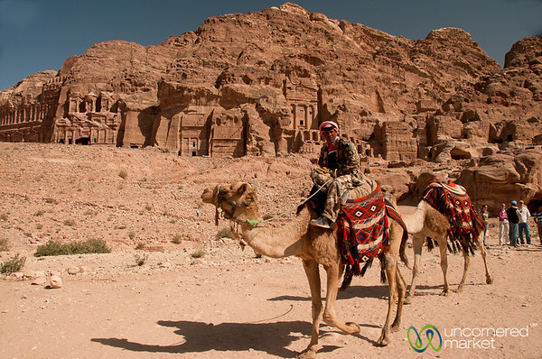 A Camel Ride Past the Royal Tombs - Petra, Jordan