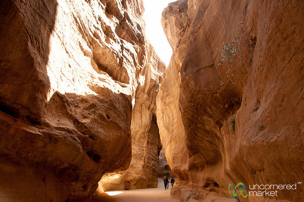 Walking through the Canyons (Siq) at Petra, Jordan