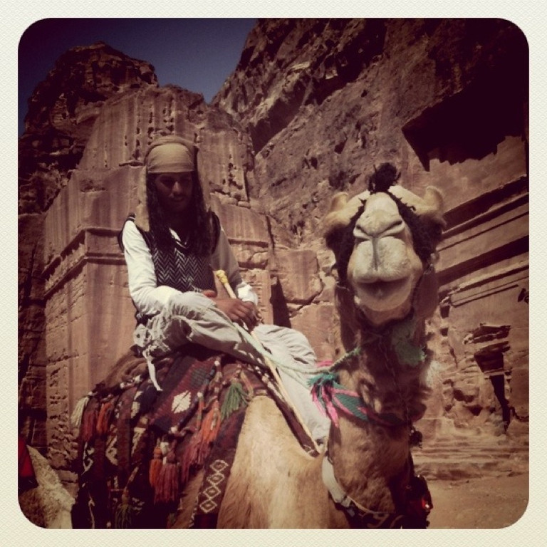 Camel and rider at Petra, Jordan