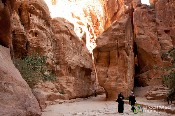 Families Walking Through the Siq to the Treasury at Petra - Jordan