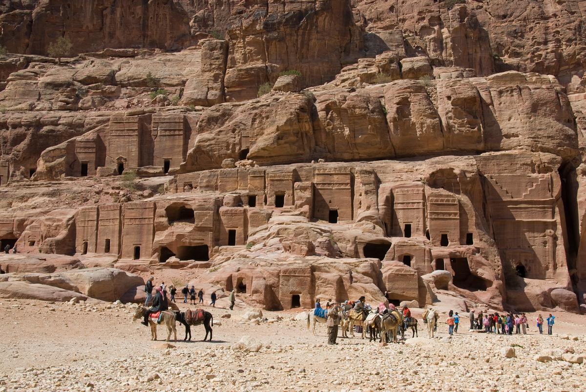 Stone dwellings, Petra, Jordan