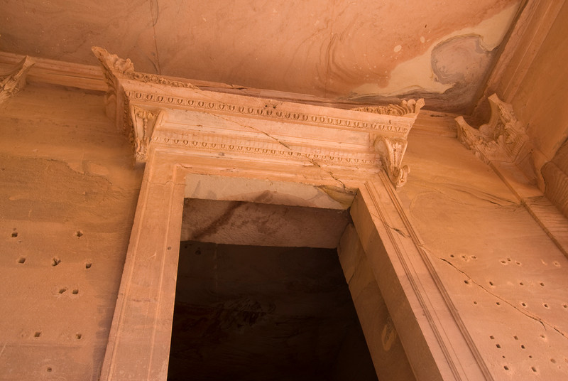 Architectural details on doorway at Petra, Jordan