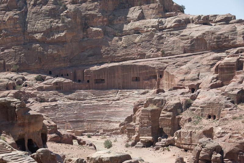 Stone carved amphitheatre in Petra, Jordan
