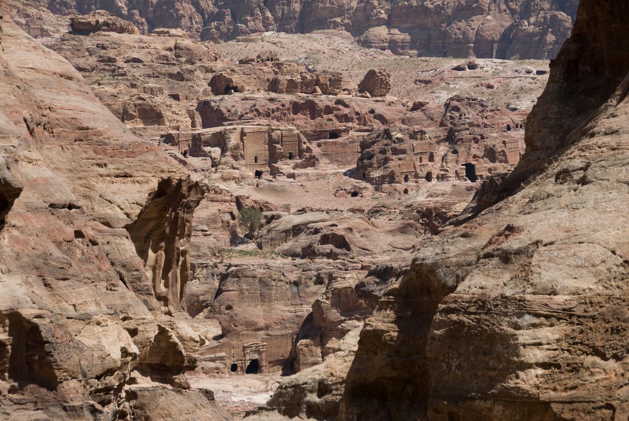 Ancient stone dwellings in Petra, Jordan