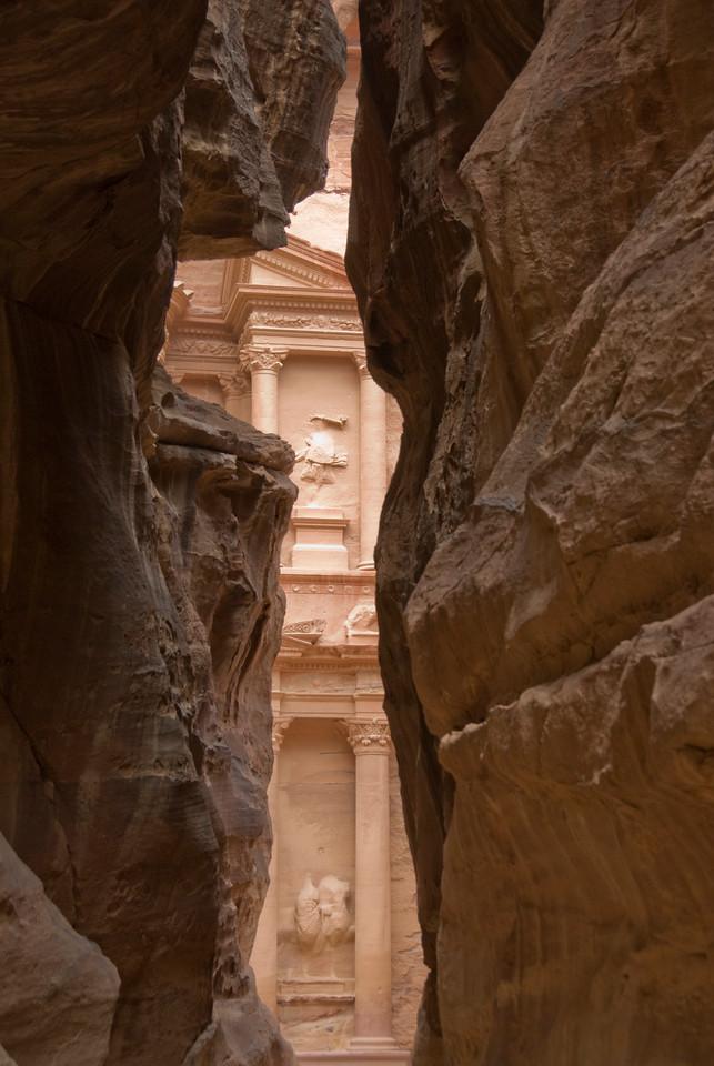 View of The Treasury from Siq in Petra, Jordan