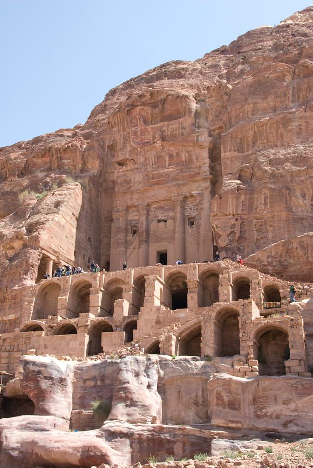 Ancient cave dwellings in Petra, Jordan