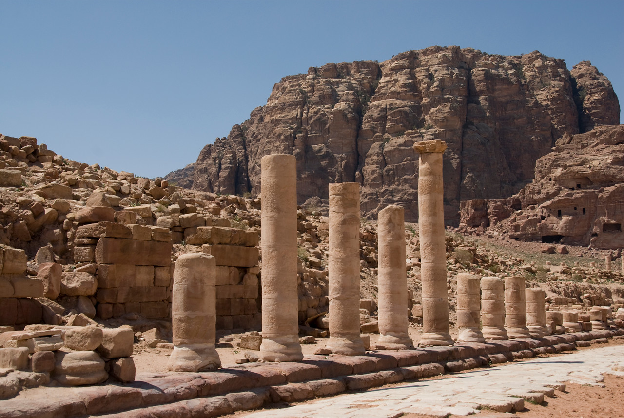Ancient columns in Petra, Jordan