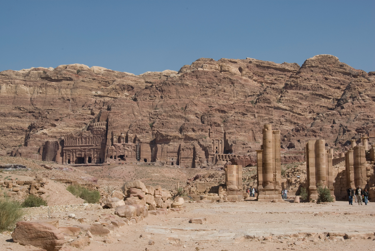Ancient dwellings in Petra, Jordan