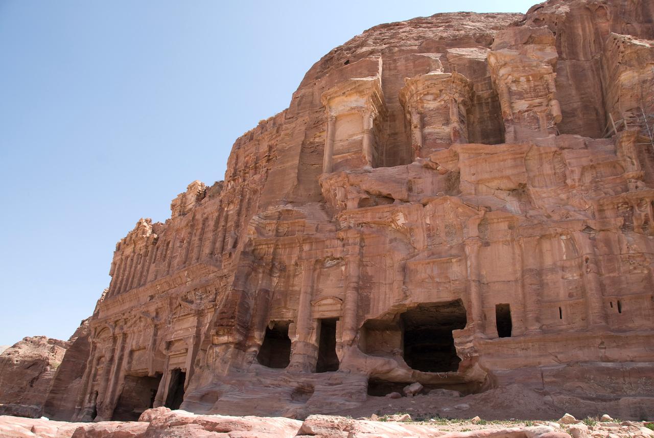 Stone dwellings in Petra, Jordan