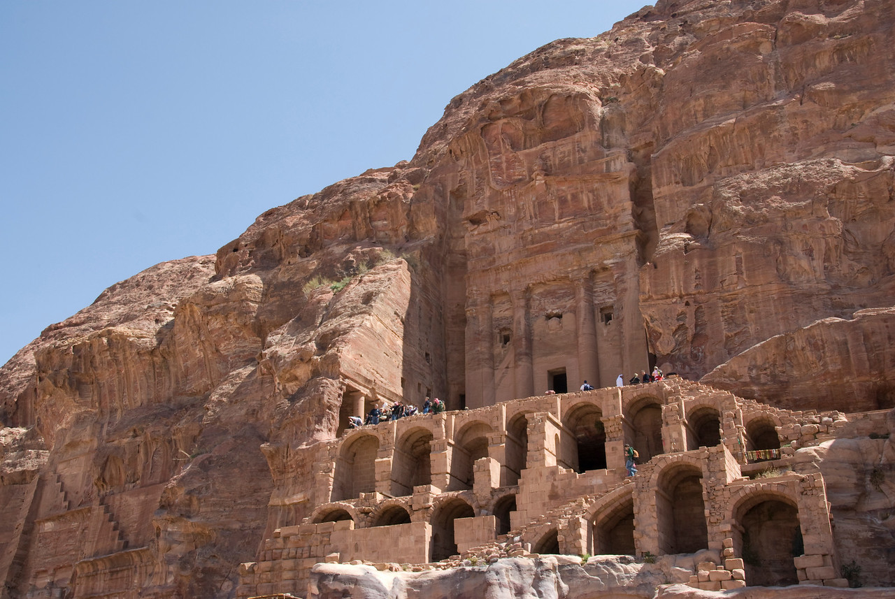 Stone cave dwellings in Petra, Jordan