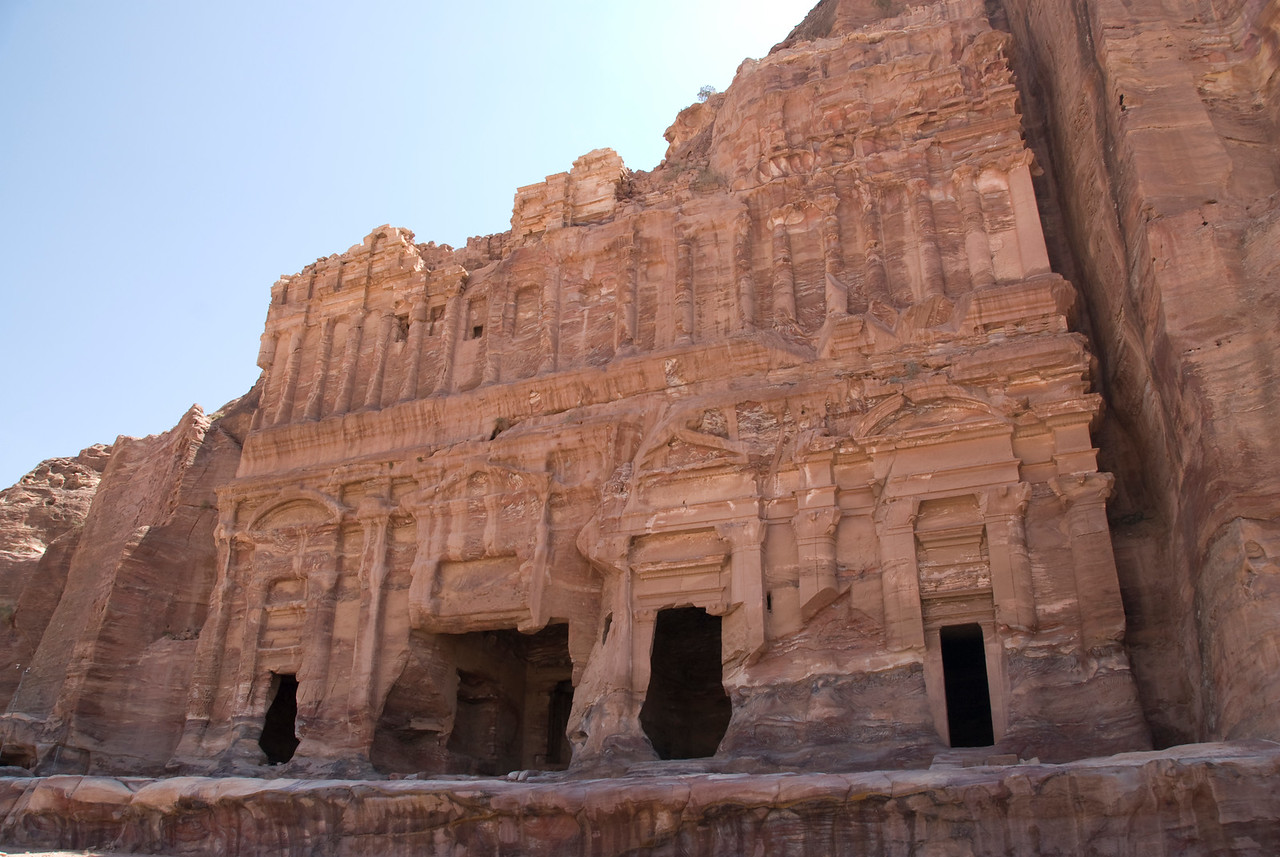 Ancient cave dwellings in Petra, Jordan