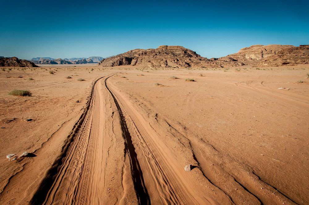 Tracks in the Sand in Wadi Rum, Jordan
