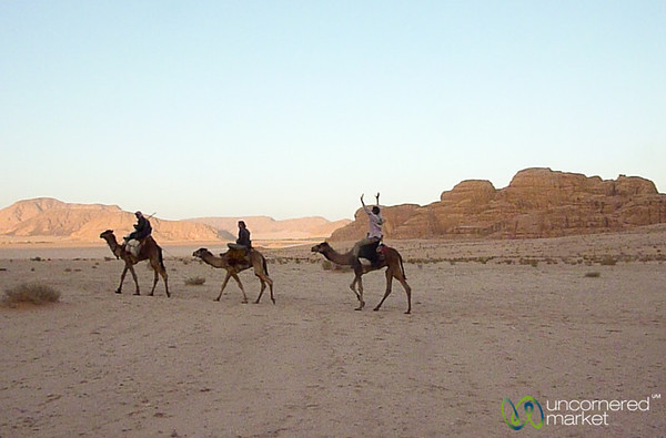 Look Ma, No Hands! Camel Riding in Wadi Rum, Jordan