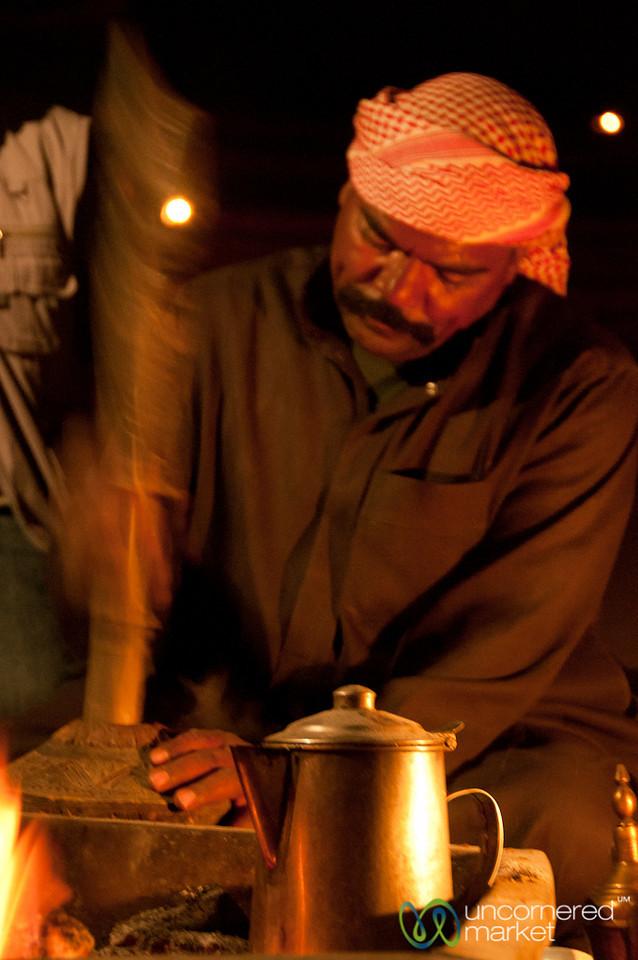 Grinding the Cardamom for Arabic Coffee - Wadi Rum, Jordan