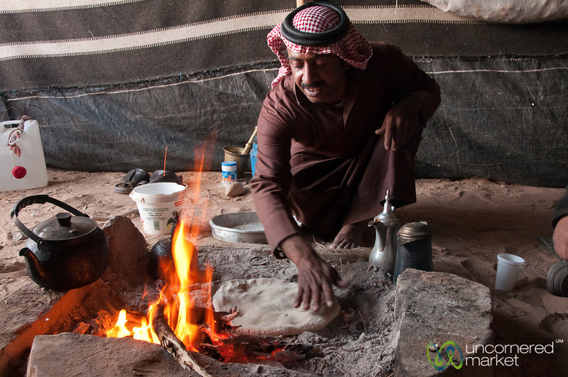 Bedouin Man Making Abud (Bedouin Bread) - Wadi Rum, Jordan