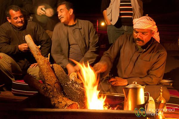 Getting the Fire Ready for Coffee in Wadi Rum, Jordan