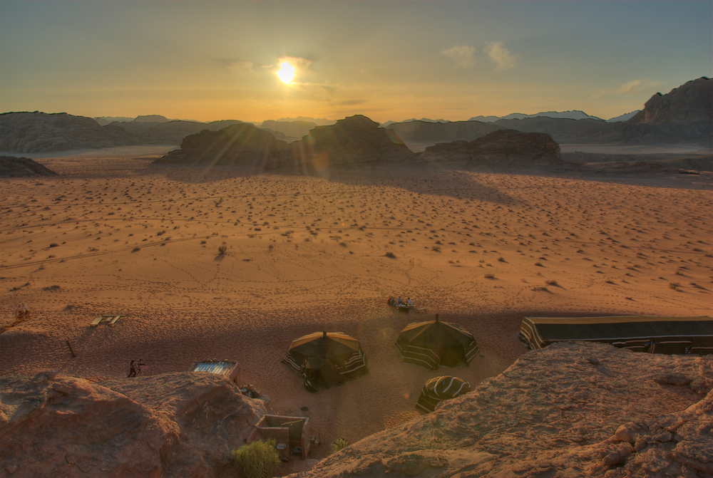 Sunset on a bedouin camp, Wadi Rum, Jordan