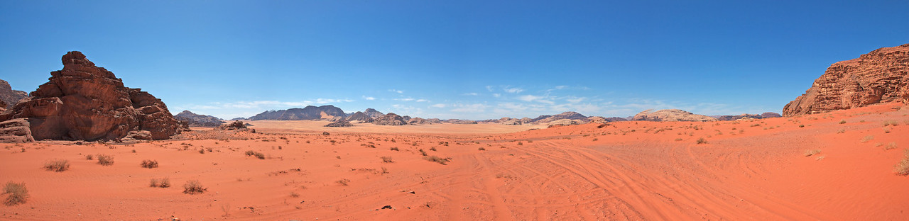 Panorama of Wadi Rum in Jordan