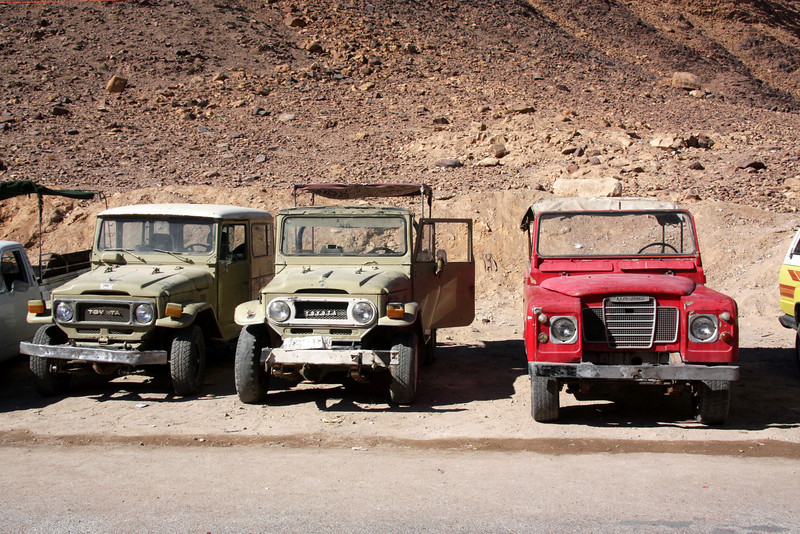 Wadi Rum (Arabic: وادي رم‎) Jordan, Jeeps for taking you about.