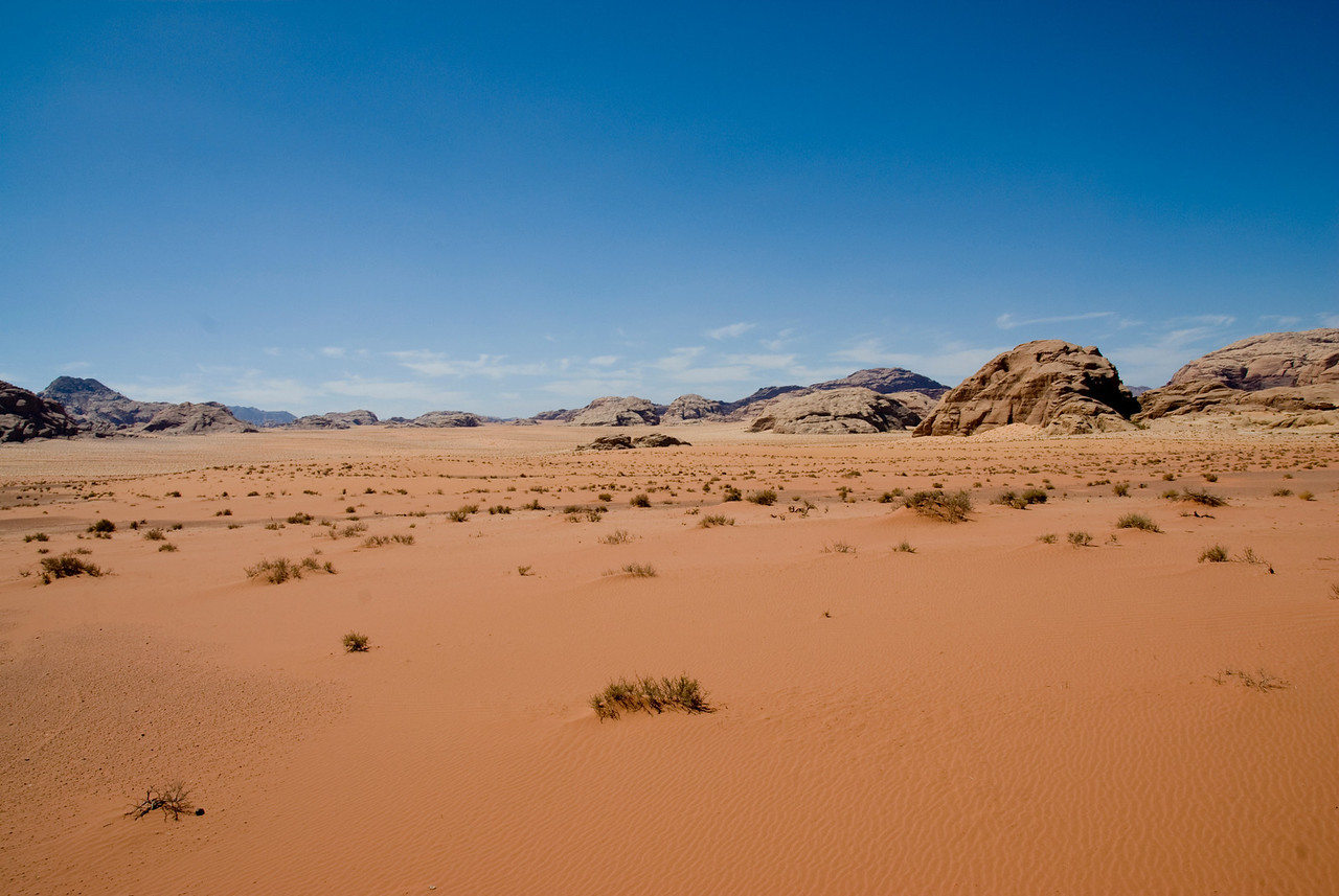 View of the desert in Wadi Rum, Jordan