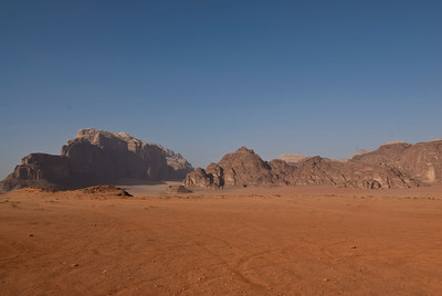 Desert with view of granite rock formation inWadi Rum, Jordan