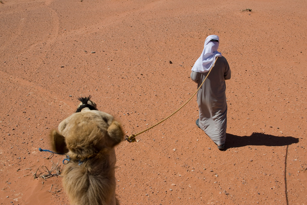 Riding the camel in Wadi Rum, Jordan