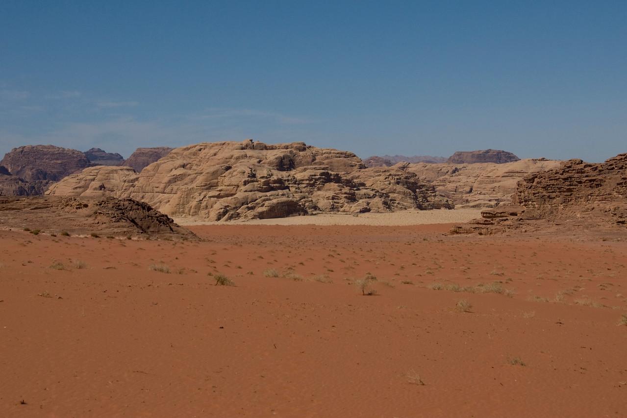 Red Sand, White Sand border in Wadi Rum, Jordan
