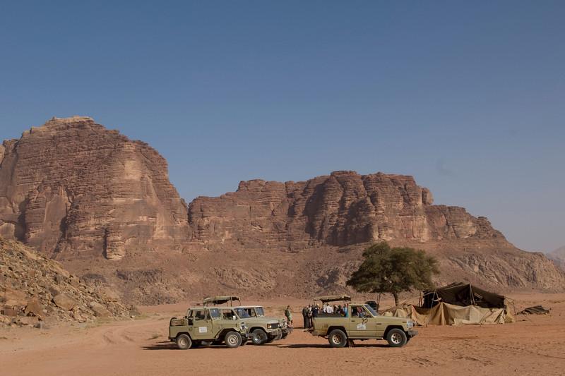 Trucks and the Seven Pillars of Wisdom in Wadi Rum, Jordan