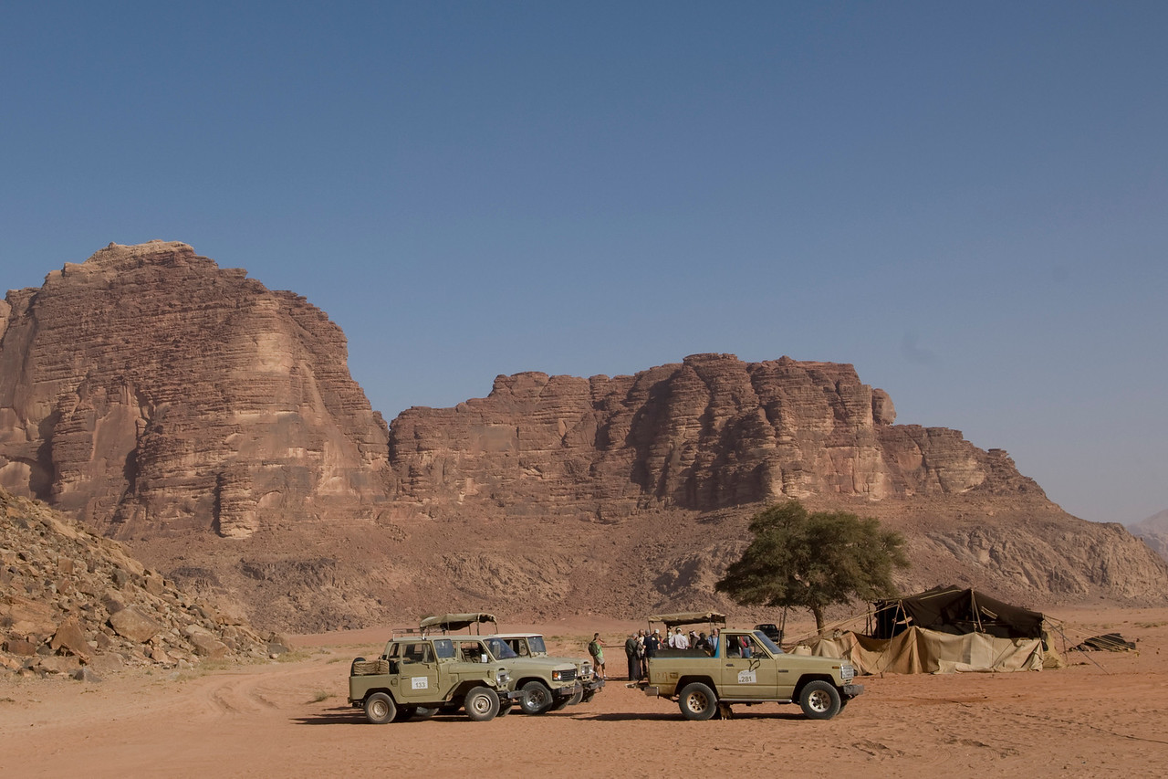 Trucks and the Seven Pillars of Wisdom in Wadi Rum, Jordan
