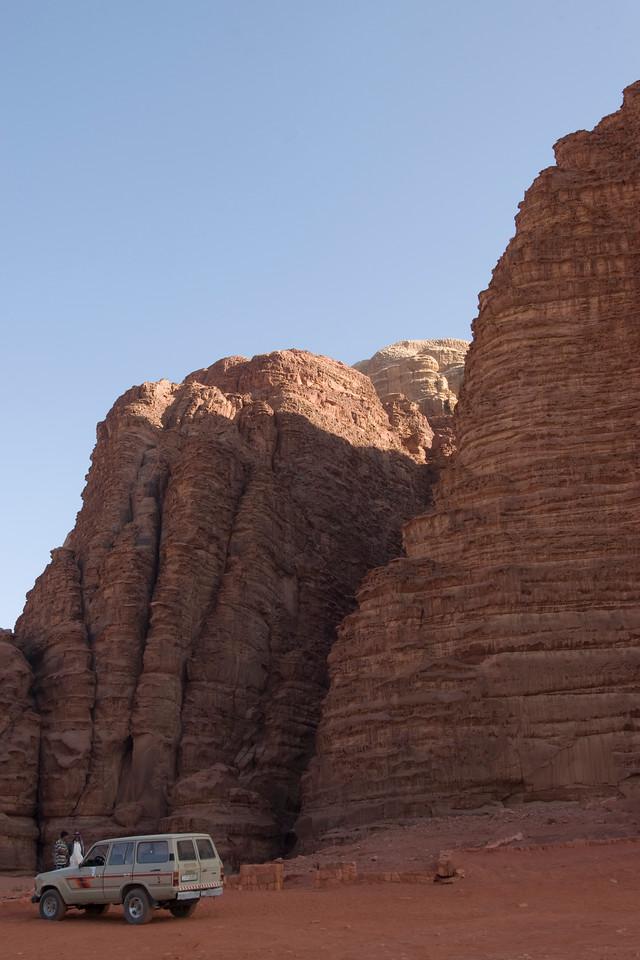 Desert and granite rock formation in Wadi Rum, Jordan