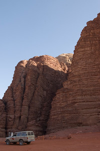 Desert and granite rock formation in Wadi Rum, Jordan