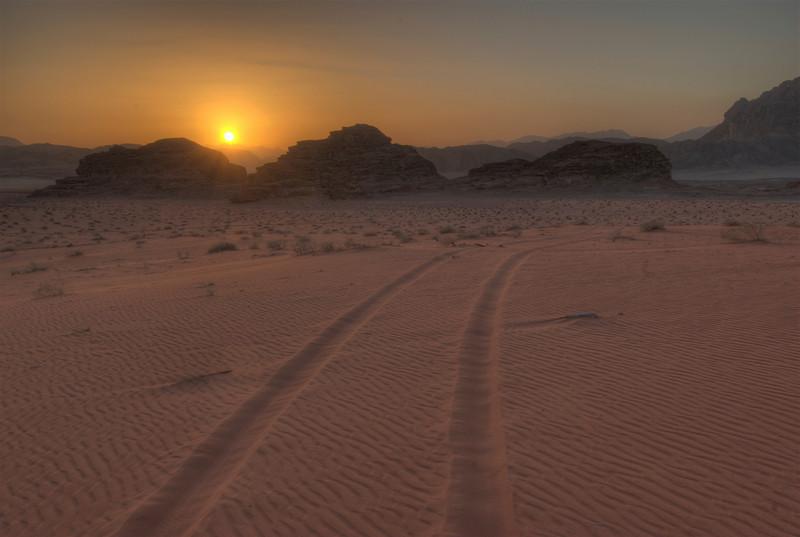 Sunset and Jeep Track - Wadi Rum, Jordan