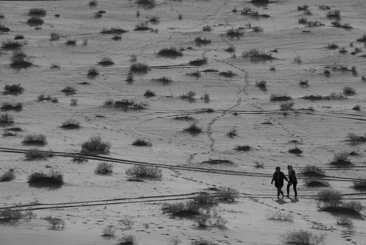 Walking the desert in Wadi Rum, Jordan