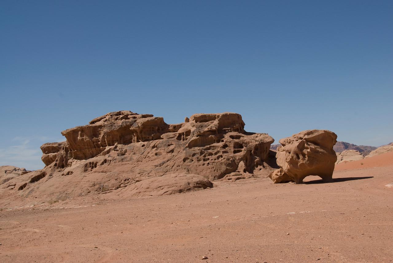 Desert and unique rock formation in Wadi Rum, Jordan