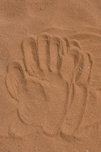 Hand print in the desert in Wadi Rum, Jordan