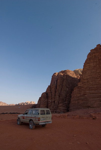 Trucks in the desert - Wadi Rum, Jordan