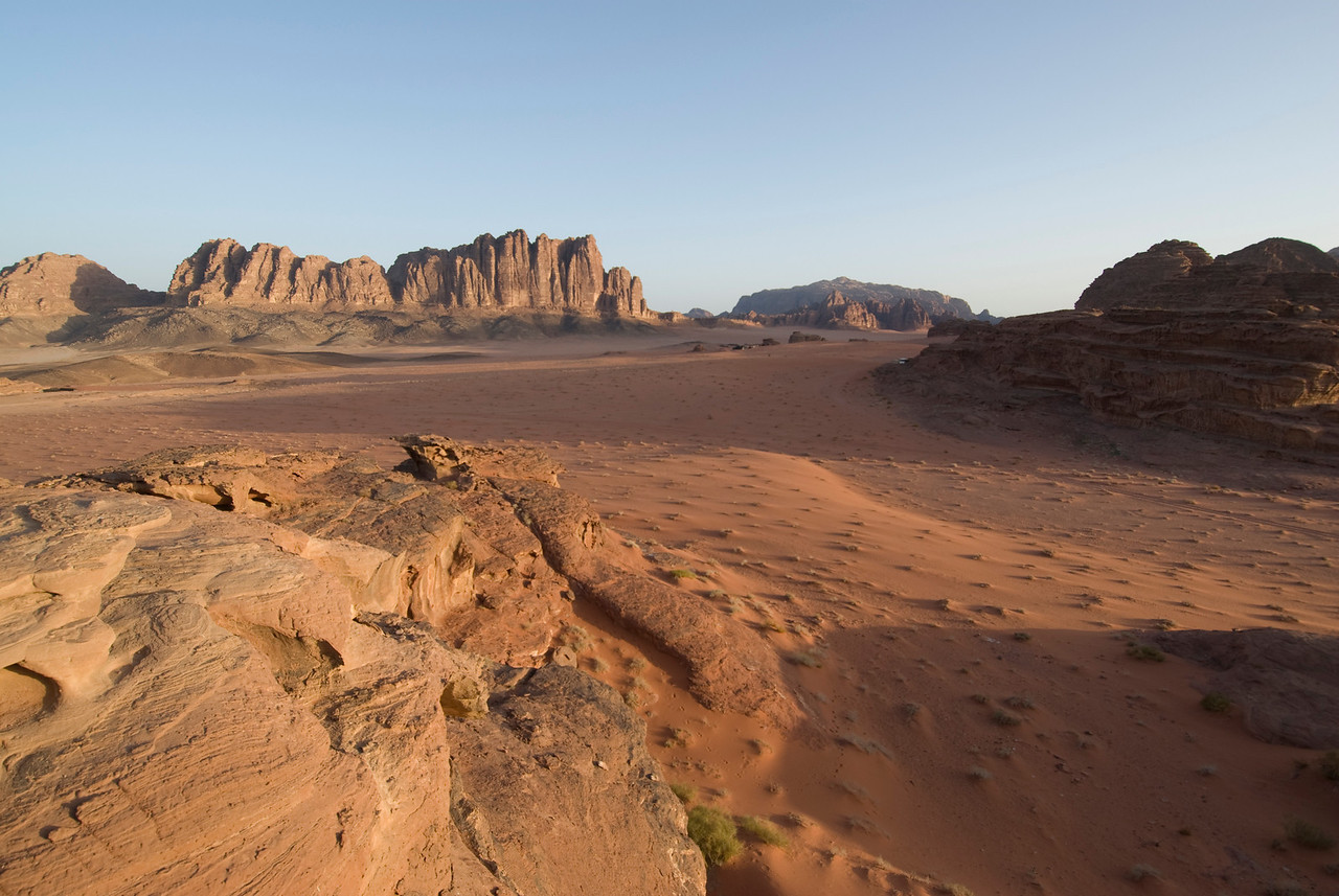 View of desert and Seven Pillars of Wisdom - Wadi Rum, Jordan
