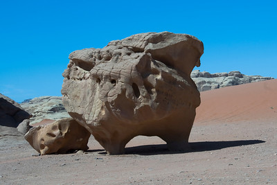 Unique rock formation in the desert - Wadi Rum, Jordan