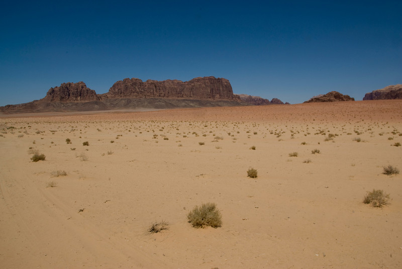 Desert and rock formation in Wadi Rum, Jordan