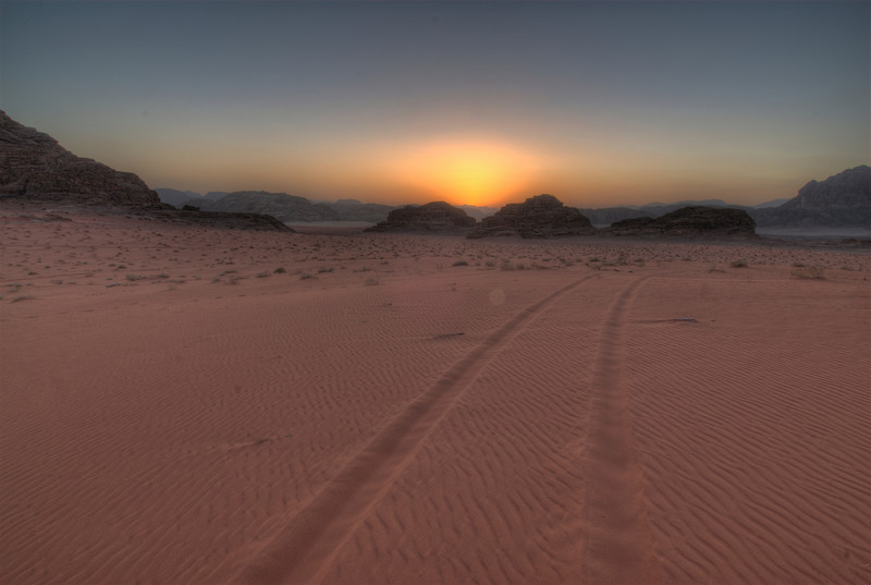 Sunset and Jeep Track - Wadi Rum, Jordan