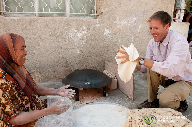 Dan Tries to Work the Shrak Dough - Ghor al Mazra'a, Jordan