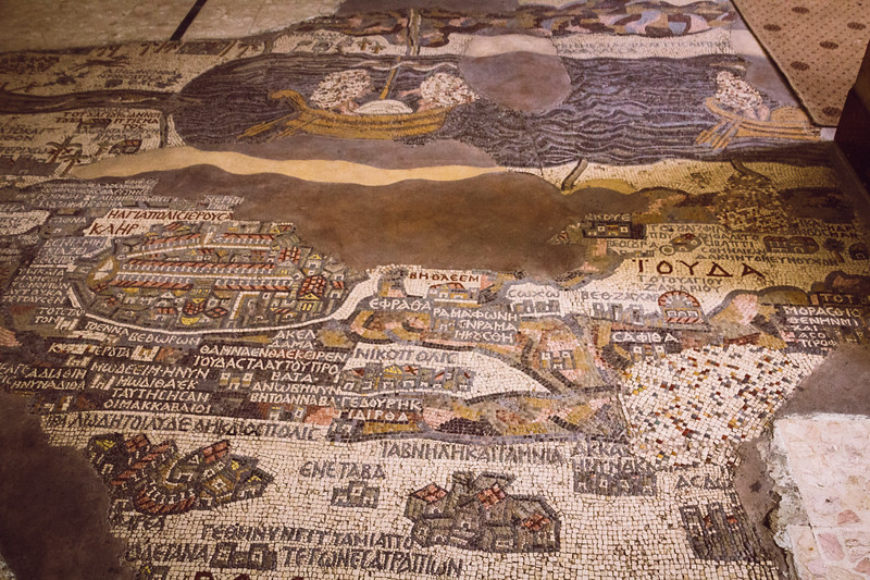 Part of the Madaba Mosaic Map Focusing on the Area Around Jerusalem and the Dead Sea - Note that the Map is Turned Sideways so that North is to the Left and East is at the Top (©simon@myeclecticimages.com)