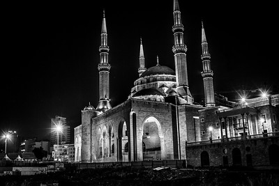 The impressive Mohammed Al Amine mosque shot at night.