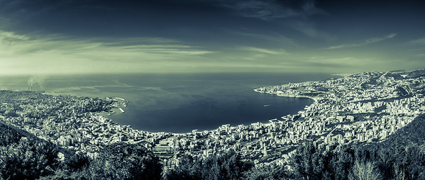 Marvelous panoramic view of Jounieh from Our Lady of Lebanon located in Harissa.
