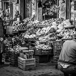 Street life scene at the market of Saida.