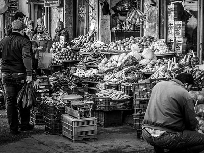 Street life scene at the market of Saida.