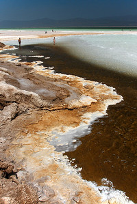 The salt shoreline of Lake Assal. Djibouti.
