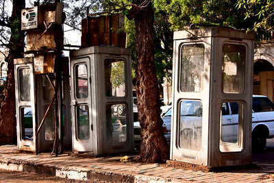 3 lonely phone booths. Downtown square, Djibouti.