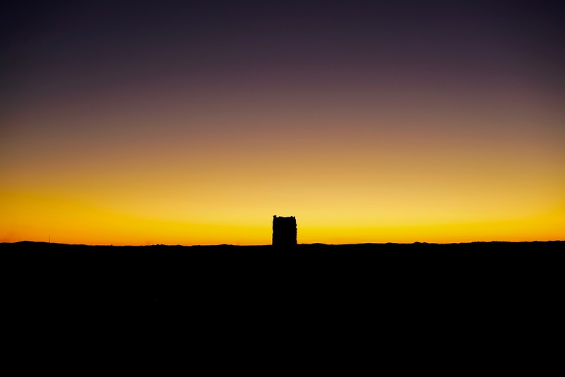 Desert tower at sunset